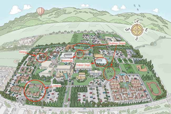 Map of Sonoma State University. Buildings we use are marked.